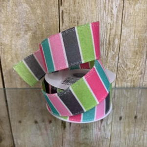 Wired Striped Multi Colored Spring Colored Ribbon – Num.9 1 1/2″