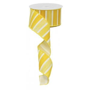 Wired Yellows and White Striped Ribbon Num.40 – 2 1/2″ – 10 yard rolls